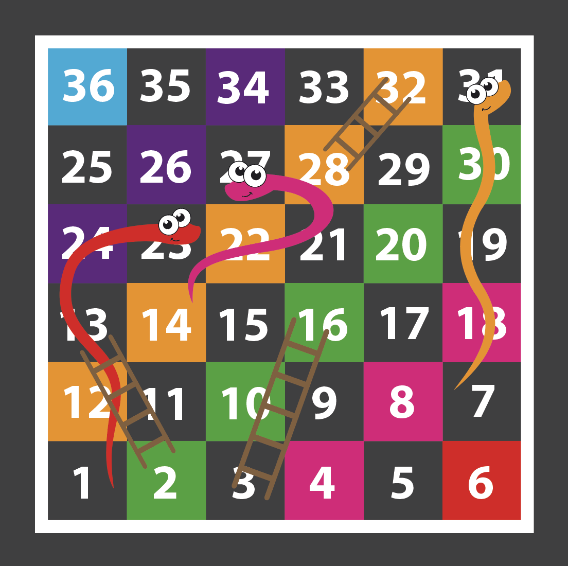 A Snakes & Ladders 1-36 Every Other Playground Marking