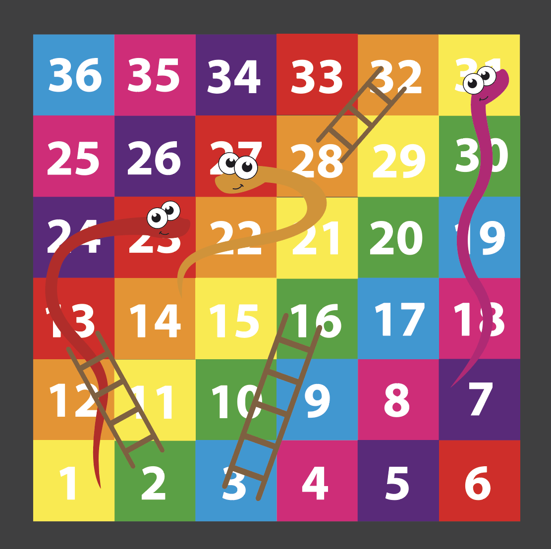 An image of a Snakes & Ladders 1-36 Solid