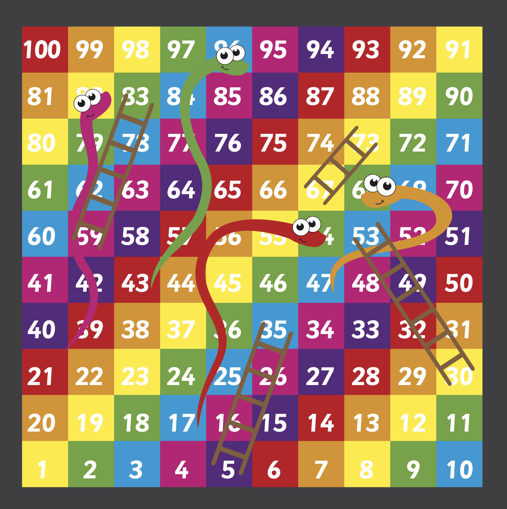An image Snakes & Ladders 1-100 Playground Marking