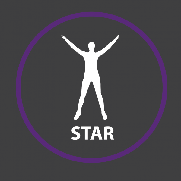 An image of a Star Jump Outline Active Spot Playground Marking